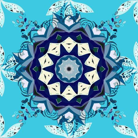 Orient, symmetry lace, meditation symbol. Vector Mandala colored on gray, blue colors. Abstract Tribal, ethnic texture. East, Islam, Thai, Indian, ottoman motifs. Arabic Vintage decorative ornament. Vectores