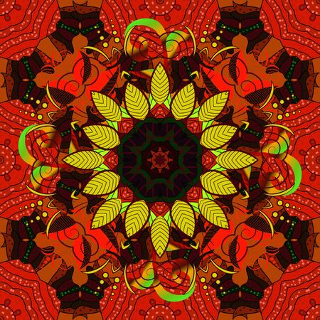 Hand painted vector mandala, colored on red, black and brown colors, indian peacock, indian pattern, colored mandala, mandala peacock.