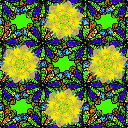 Vector hand-drawn mandala, colored abstract pattern on a green, black and yellow colors.