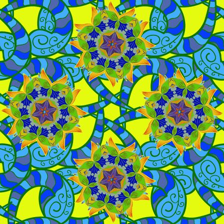 Gentle, summer floral background. Flowers on green, blue and yellow colors. Vector floral pattern in doodle style with flowers.