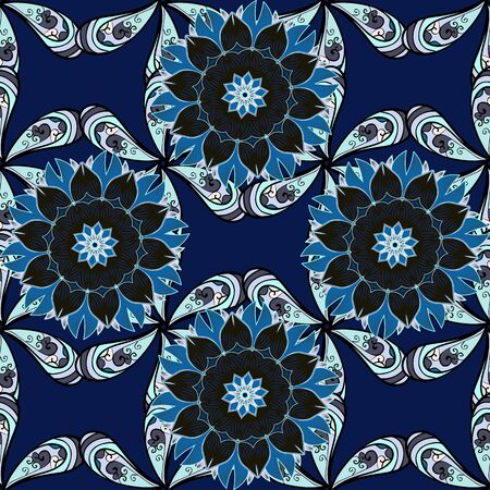Ornate, eastern mandala with colored contour. Art, round, colorful ornament on a neutral, gray and blue colors.