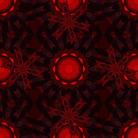 Vector geometric circle elements. Spiritual and ritual symbol of Islam, Arabic, Indian religions. Round Ornament Pattern on a red, brown and black colors. Colored Mandala. Oriental motifs.