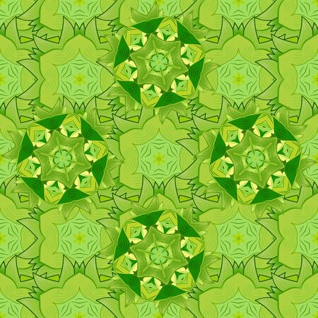 Flowers on yellow, neutral and green colors. Vector illustration. Tropical seamless floral pattern. Banco de Imagens - 150281869