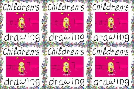 Raster. Picture in white, magenta and black colors. Children's drawing.