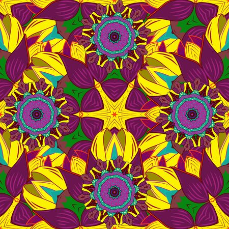 Vector illustration. For textile, invitations, banners and other. Colored round floral mandala on a red, yellow and purple colors.