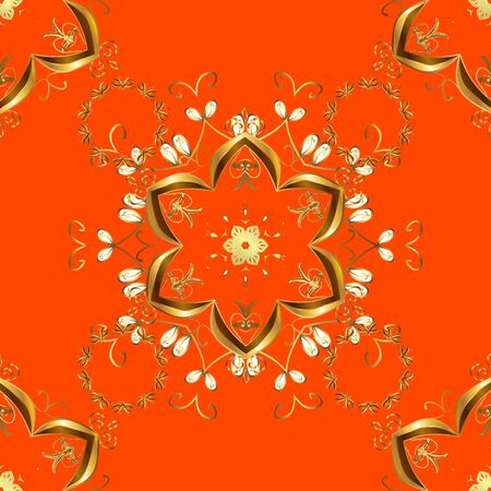 Vector. Beautiful pattern for Wallpapers, packaging. Graceful, delicate ornamentation in the Rococo style. Seamless pattern in Baroque style. Patterns on brown, orange color. Vintage colorful patterns