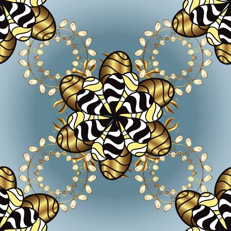 Damask gold black and blue floral flower pattern background on vector. Ornate vector decoration.