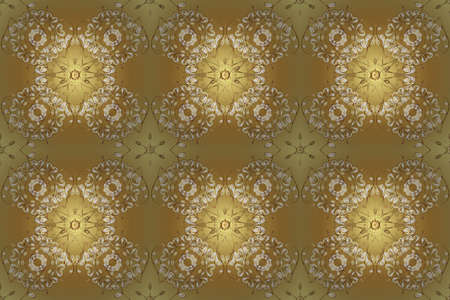 Seamless medieval floral royal pattern. Good for greeting card for birthday, invitation or banner. Decorative symmetry arabesque. Gold on yellow and beige colors. Raster illustration. 스톡 콘텐츠