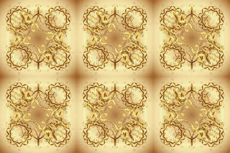 Vintage baroque floral seamless pattern in gold over brown and beige. Ornate raster decoration. Luxury, royal and Victorian concept. Golden element on brown and beige colors. Stock Photo