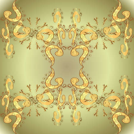 Vector seamless pattern with gold antique floral medieval decorative, leaves and golden pattern ornaments on brown, yellow and neutral colors. Seamless royal luxury golden baroque damask vintage.