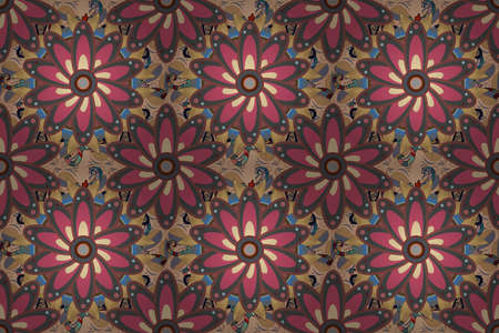 Embroidery floral seamless pattern. Raster texture for prints, fabric, sketchs, textile. Colorful grunge flourish abstract background with colobrown, beige and gray flowers.