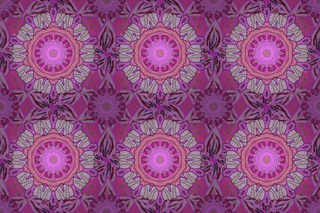 Mandala colored, tribal vintage background with a medallion. Pattern with abstract art flower for Tibetan yoga. Bohemian decorative element, indian henna design, retro circle ornament on violet, pink.