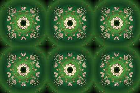 Seamless pattern. Openwork weaving delicate, nice background. Pictures in white and green colors. Raster illustration. Brilliant lace, stylized flowers. Oriental style arabesques. Cute textured curls. 写真素材