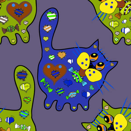 Repeated doodles. Abstract seamless pattern for sketch, clothes, boys, girls. Seamless funny cat background. Illustration in blue, green and neutral versicolors. Vector. Vettoriali