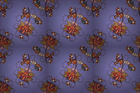 Orange, violet and black hand drawn pattern. Doodle flowers seamless pattern. Raster pattern. Art inspiorange, violet and black style flowers and leaves background.
