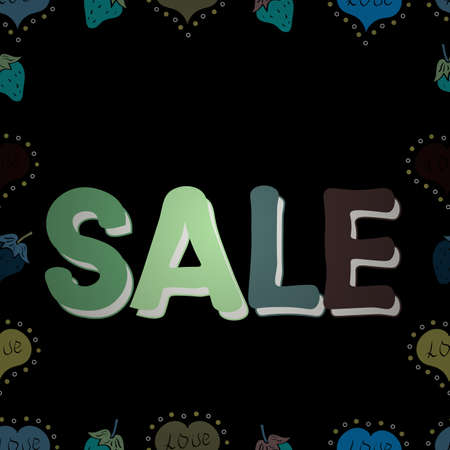 Seamless. Vector lettering. Sale banner. Picture in black, blue and green colors.