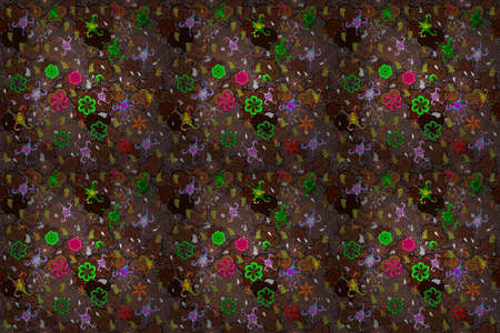 Seamless Flat design with abstract doodles on brown, black and green colors background. Raster illustration. Colorful pattern.
