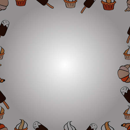 Doodle frame. Vector illustration. Seamless pattern. Illustration in brown, orange and white colors.