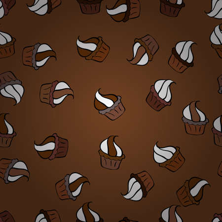 Vector art. Seamless pattern with sweets - ice cream, cupcakes isolated on cute black, brown and white background. Can use for birthday card, the children menu, packaging, textiles, fabrics, wallpaper 向量圖像