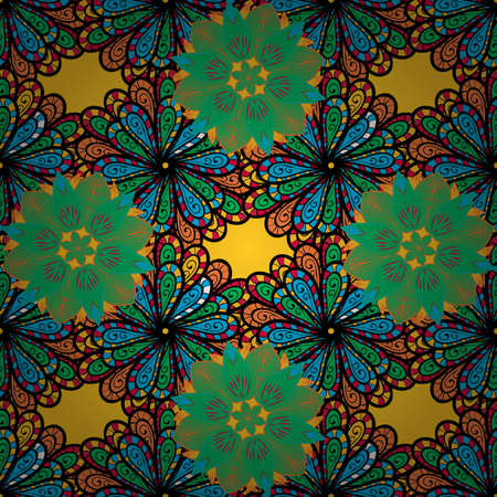 Vector flat flowers seamless pattern. Flowers on blue, green and black colors. Design gift wrapping paper, greeting cards, posters and banner design.
