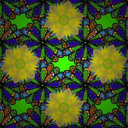 Oriental colored pattern on black, yellow and green colors. Abstract Mandala. Islam, Arabic, Indian, turkish, pakistan, chinese, ottoman motifs. Vintage decorative elements. Vector illustration.