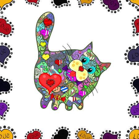 Bright background with different elements for the design of banners, posters. Seamless pattern with hand drawn cats. Sketch, doodle, scribble. Vector. Scketh at white colors. Endless. Ink doodle.