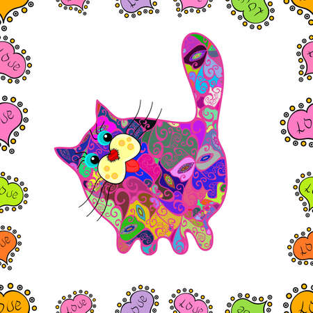 Cute pattern for scrapbooking, textile, packaging, wallpapers. Draft on green, white and magenta versicolors. Doodle, sketch, scribble. Vector. Seamless of nice cartoon cat design.
