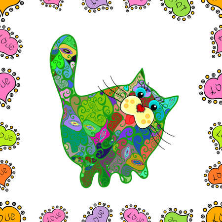 Vector. Seamless pattern cute cat pattern in cartoon style. Color in the image: green, pink and white. Wallpaper texture. Hand-drawn illustration. Template for print design. Fashion Fabric Design. 向量圖像