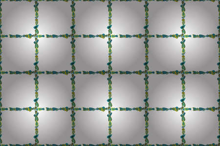 Border design is pattern in doodles art style. Decoration pattern style. Illustration in blue, white and green colors. Seamless. Decorative vintage frames and borders. Raster illustration.