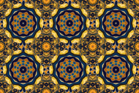 Tribal, Boho, Bohemian style. Ornament yellow, gray and blue colored card with mandala. Kaleidoscope, medallion, yoga, india, arabic. Geometric circle raster element. 版權商用圖片