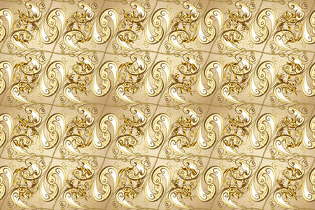 Floral classic texture. Seamless pattern golden elements. Design vintage for card, sketch, wrapping, textile. Royal retro on brown and beige colors. Gold template. Raster illustration.
