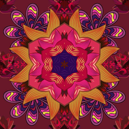 Boho abstract seamless pattern. Colorful colored tile mandala on a red, purple and orange colors. Intricate floral design element for wallpaper, gift paper, fabric print. Unusual vector decoration.