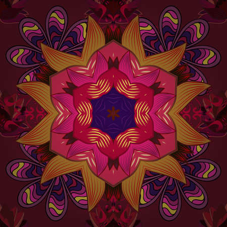 Vector East, Islam, Indian, motif, revival swirling. Colored mandala pattern, Arabic background. Vintage decorative ornament on orange, red and purple colors. Orient, symmetry lace, fabric, wallpaper. 向量圖像
