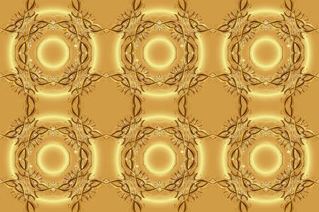 Paisleys elegant floral raster pattern background sketch illustration with vintage stylish beautiful modern 3d line art gold and yellow and brown paisley flowers leaves and ornaments. 版權商用圖片
