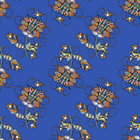 Cute floral pattern in the small flower. Abstract seamless pattern on orange, black and blue colors with bright flowers. Elegant vector texture with floral elements.
