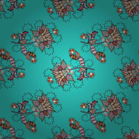 Seamless decorative background, flower mandala. On neutral, blue and black colors. Flower. Vector illustration.