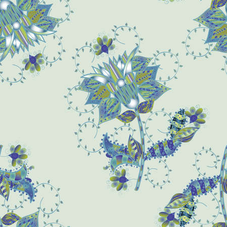 Tender seamless pattern with flowers. Vector illustration. Gentle, spring floral on neutral, gray and blue colors. Vector floral illustration in vintage style.