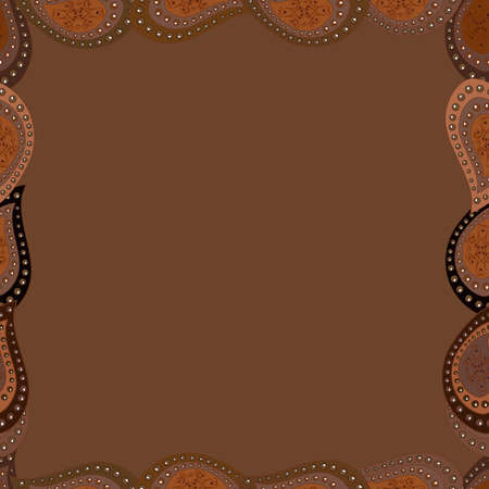 Illustration in brown, white and black colors. Vector illustration. Seamless pattern.Hand drawn doodle frames. Иллюстрация