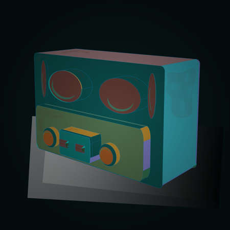 3D. Pattern in blue, green and gray colors. Retro radio isolated on background. Quality technology. 1920s style. Vector.