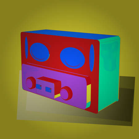 1930s style. Image on yellow, green and red versicolours. 3D. Old radio radio isolated on background. Vector.