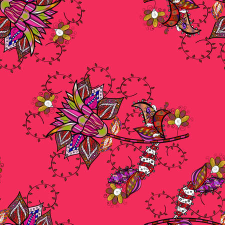 Flowers on black, pink and brown colors. Vector illustration. In asian textile style. Seamless flowers pattern. Vector illustration.