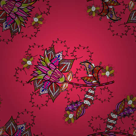 Vector Tender fabric pattern. Floral black, brown and pink seamless pattern. Vector flower print. Vintage outline illustration.