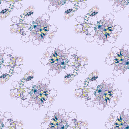 Multicoloneutral, violet and gray elegant little flowers and funny bugs on a neutral, violet and gray colors, vector texture, illustration.