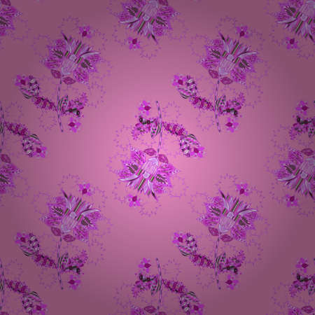 Seamless Floral Pattern in Vector illustration. Flowers on neutral, violet and pink colors in watercolor style. 일러스트