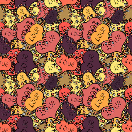 Design for decoration, gift paper, textile. Vector. Valentines day background. Love romantic theme. Seamless pattern with small hearts on black, pink, orange backdrop. Abstract texture, repeat tiles.