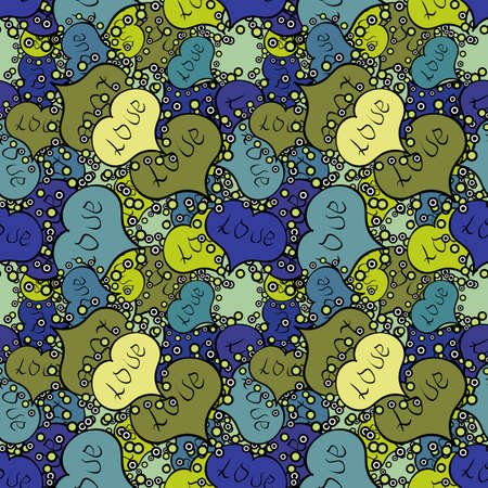 Seamless pattern love pattern with nice lettering calligraphy text and hearts, doodles. Vector. Art for web, print, fabric. Graphic on blue, green colors. Hand drawn illustration in cartoon style.