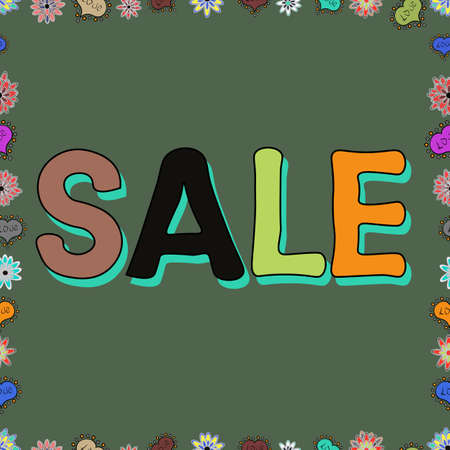 Sale. Seasonal discounts set. Ornate vector colorful frame. Illustration in brown, green and gray colors. Seamless.