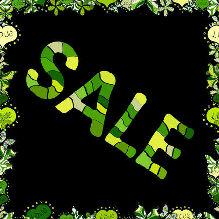 Of calligraphy summer sale, favourite brands. Lettering in green, black and yellow colors. Friday, magic sale, logotype, print, text for sell out, clearance sale, closeout, giveaway. Seamless. Vector.