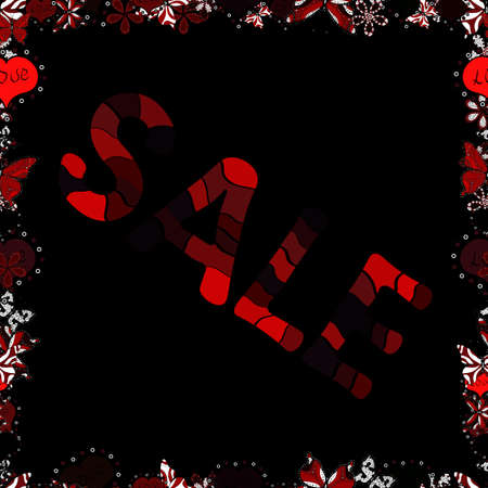 Hot Summer Sale Banner Design. Seamless. Vector Advertising pictures in brown, red and black colors. Hand Drawn Text on cute Background. 일러스트