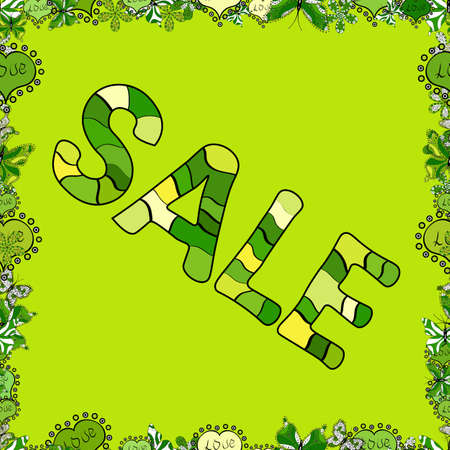 Banner clearance sale. Illustration in black, yellow and green colors. Seamless pattern. Vector illustration. 일러스트